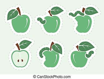 green apple and worm. set of color icons