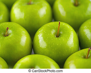 Green Apple Background - Green apples arranged in rows...