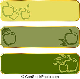 Green apple banners with gold rim