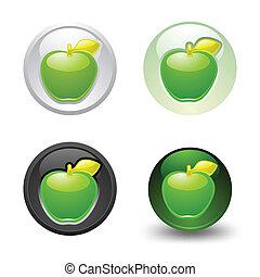 Green Apple button, set, web 2.0 ic