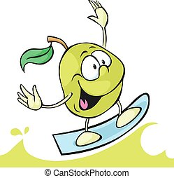 green apple cartoon surfing on juice wave - vector illustration