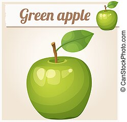 Green apple. Cartoon vector icon
