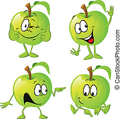 green apple cartoon with hand