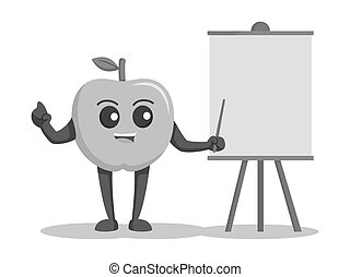 Green apple character blank presentation board