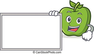 green apple character cartoon with board