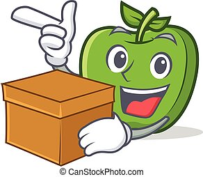 green apple character cartoon with box