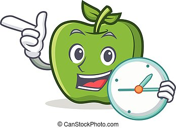 green apple character cartoon with clock