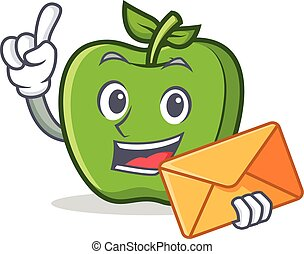 green apple character cartoon with envelope
