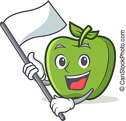 green apple character cartoon with flag
