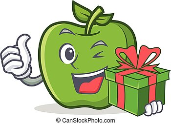 green apple character cartoon with gift