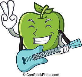 green apple character cartoon with guitar