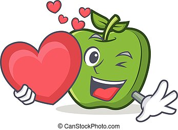 green apple character cartoon with heart