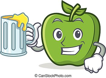 green apple character cartoon with juice