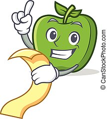 green apple character cartoon with menu