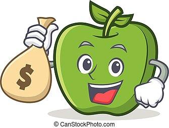 green apple character cartoon with money bag