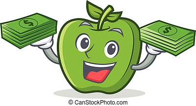 green apple character cartoon with money