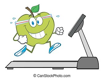 Green Apple Character Running
