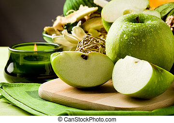 Green Apple Dessert on Cutting board - photo of delicious...