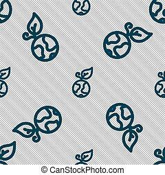Green apple earth icon sign. Seamless pattern with geometric texture. Vector