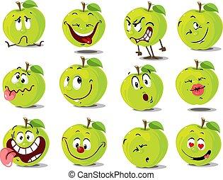 Green Apple Emoticon Flat Vector Design Cartoon Illustration