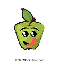 green apple expressions hungry face icon, vector...