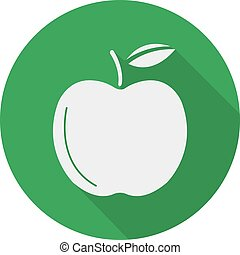 Green apple flat design long shadow icon