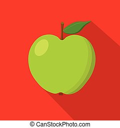 Green apple flat icon