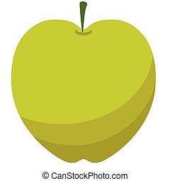 Green apple flat illustration on white