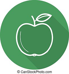 Green apple flat linear long shadow icon