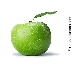 Green Apple - Fresh green apple with drops. The file...