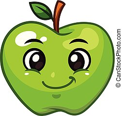 Green apple fruit vector cartoon character