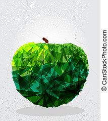 Green apple geometric shape.