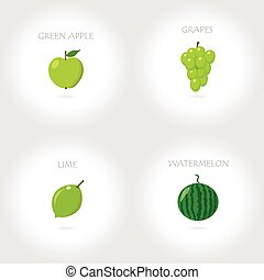 green apple  grapes lime watermelon