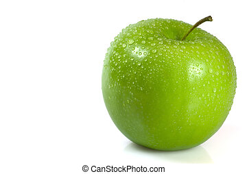 Green Apple - Green apple covered in water droplets isolated...
