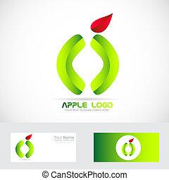 Green apple healthy food logo