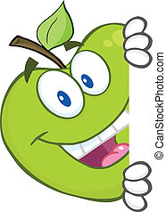Smiling Green Apple Character Hiding Behind A Sign. Illustration