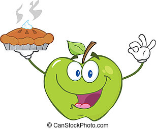 Green Apple Holding Up A Pie - Happy Green Apple Character...