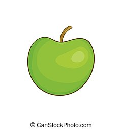 Green apple icon, cartoon style