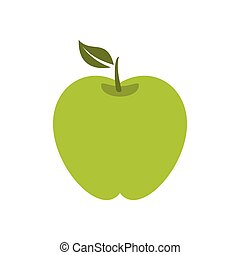 Green apple icon, flat style