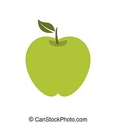 Green apple icon, flat style