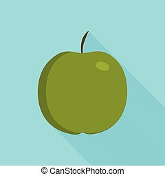 Green apple icon in flat long shadow design with blue background
