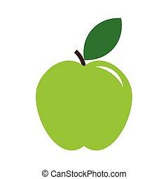 Green Apple icon, modern minimal flat design style
