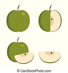 Green apple icons set in flat design