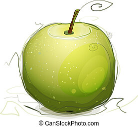 Vector EPS10 green apple illustration. Sketchy style.