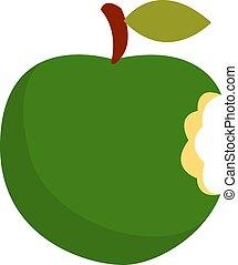 Green apple, illustration, vector on white background.