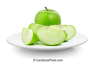 green apple in a plate on white background