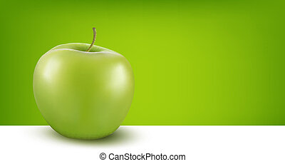 Green apple in front of background