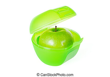Green apple in lunch box