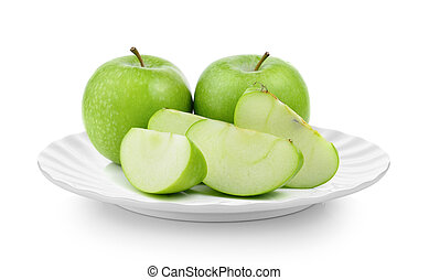 green apple in plate on white background