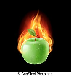 Green apple in the fire